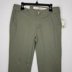 Maison Jules Pants - Olive Green Cropped Straight-Leg Chino Pants